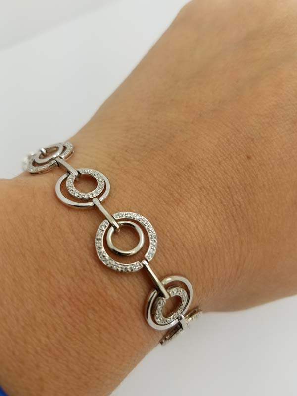 14k White Gold 1.50ct Diamond Cicle Chain Bracelet