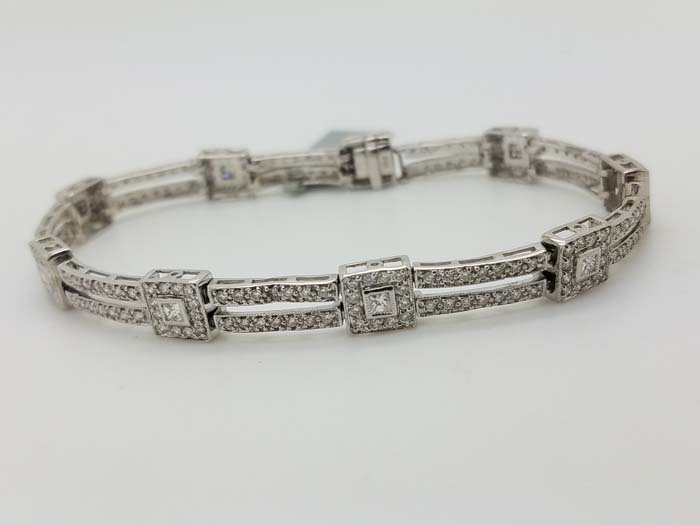 14K	White Gold	Milgrain	4-prong	Round & Princess	Diamond		Statement	Bracelet	3.00	ct