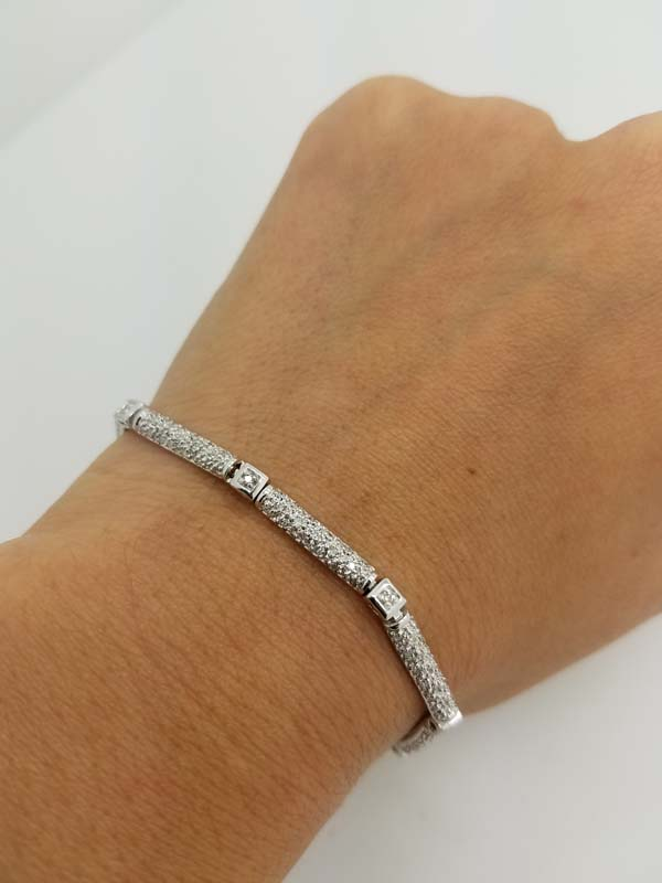 14k White Gold 1.00ct Round Diamond Pave Bracelet
