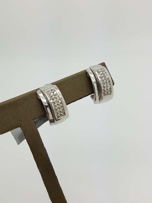 14K        White Gold        8.7        g                pavé-like        Round        Diamond                Huggie        Earrings        1.00        ct