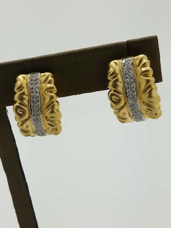 "14KYellow Gold8.4g""Silk Ribbon"" DesignDiamondHuggieEarrings0.40ct"