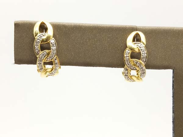 18K Yellow Gold 3.9 gr Twisted Figaro Cuban Link Huggie Diamond Earrings0.20ct