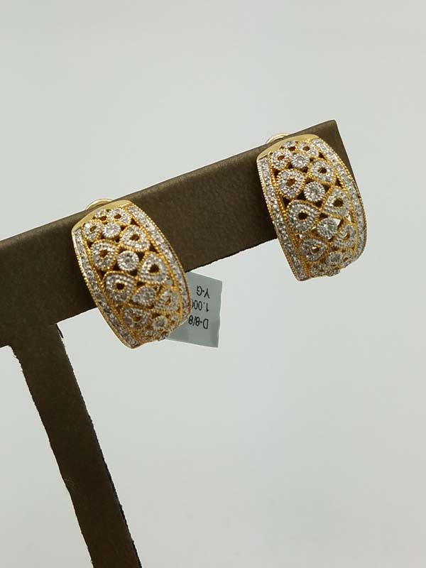 14K	Yellow Gold	8.2	g	Milgrain		Diamond		Huggie	Earrings	1.00	ct