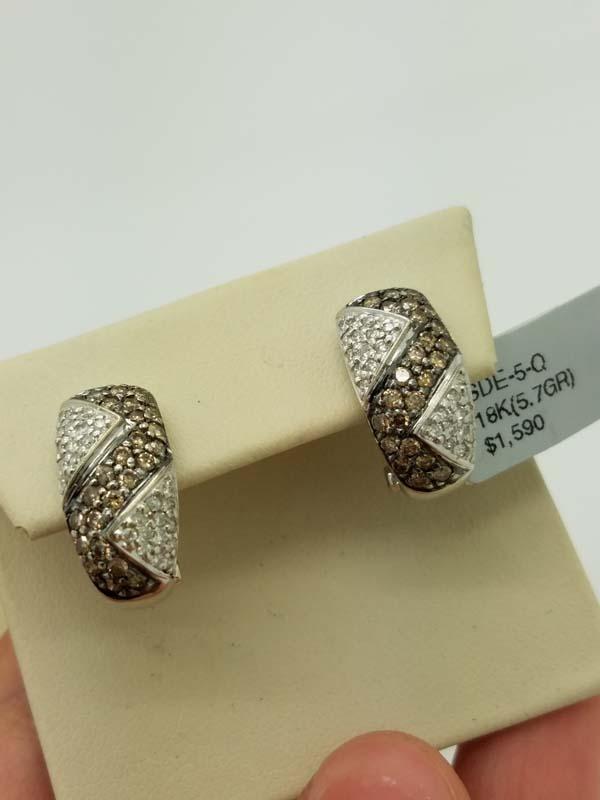 18KWhite Gold5.7gChocolate & WhiteDiamondHuggieEarrings1.50ct
