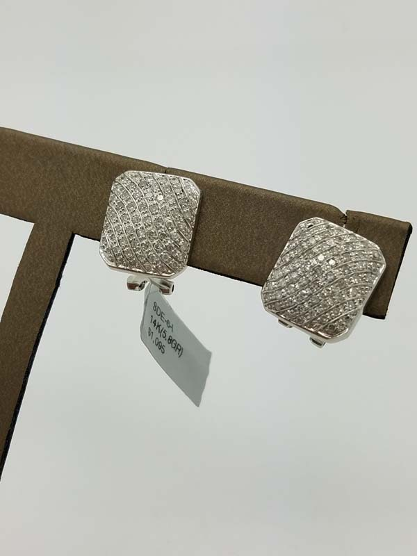 14K	White Gold	5.8	g			Single Cut	Diamond		Cluster	Earrings	1.00	ct