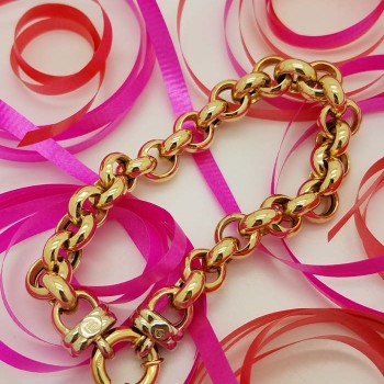 18K Yellow Gold Circle Chain Link Women's Bracelet