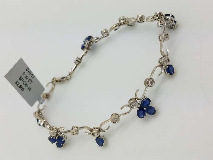 18k	White Gold	Milgrain Floral Dangle			Bezel/Prong Set	Round	Diamond	SAPPHIRE	Tennis	Bracelet	0.30	ct