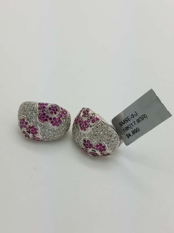18KWhite Gold17.8gFlowerPink SapphireDiamondHuggieCluster Earrings1.50ct