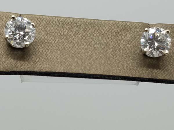 14KWhite Gold1.5gsolitaire earringsG-HVS4 pronground brilliantDiamondStudEarrings0.71+ 0.73ct