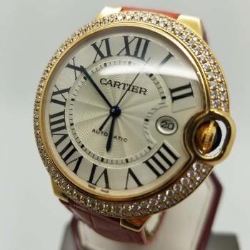 CARTIERBALLON BLEUWE900751WHITE18KGenuine Leather42DiamondMechanical (Automatic)Watch