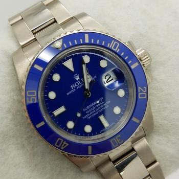 ROLEXSUBMARINER CERAMIC 18K WHITE116619Solid Gold40MMBLUEMechanical (Automatic)WATCH
