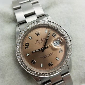 ROLEX	OYSTER PERPETUAL DATE	15210	Stainless Steel		34MM	SALMON PINK	Mechanical (Automatic)	DIAMOND	1.25CT`		WATCH