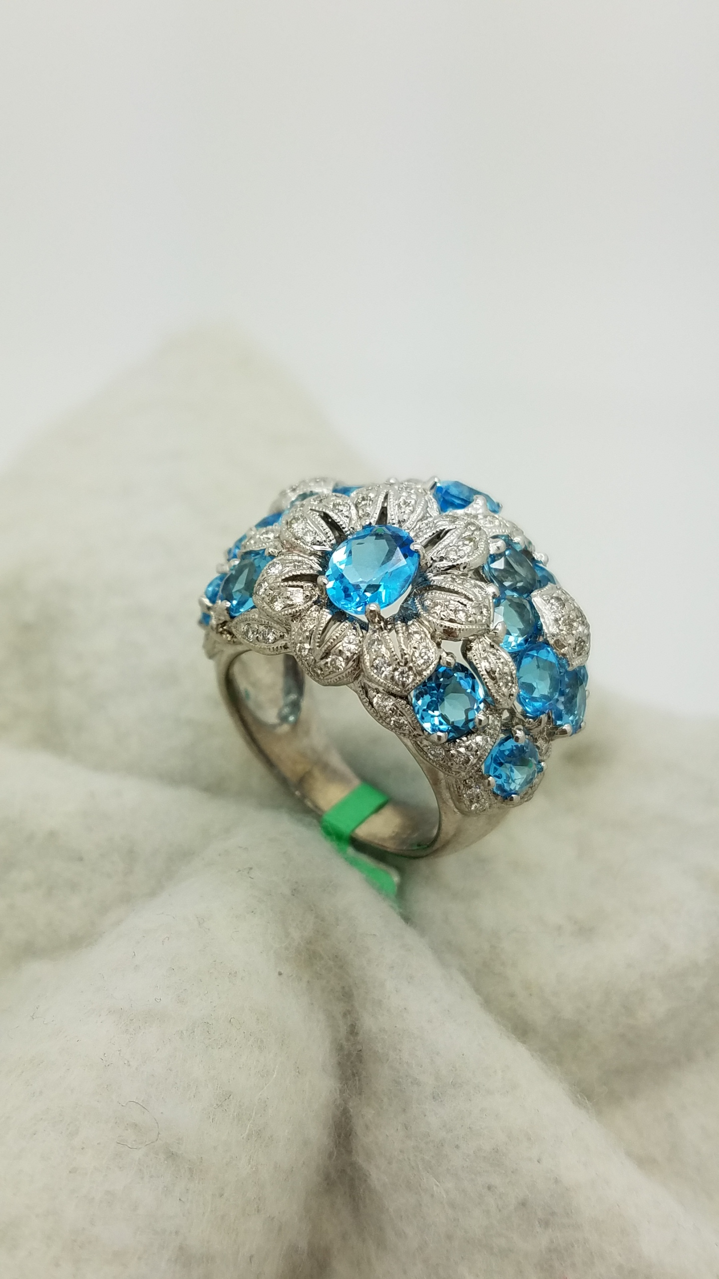 14K White Gold FLOWER OVAL Cut MILGRAIN BLUE TOPAZ DIAMOND CLUSTER
