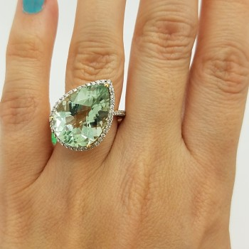 14K	Yellow Gold	FLOWER BASKET	PEAR	Cut			GREEN AMETHYST	DIAMOND	COCKTAIL	ring
