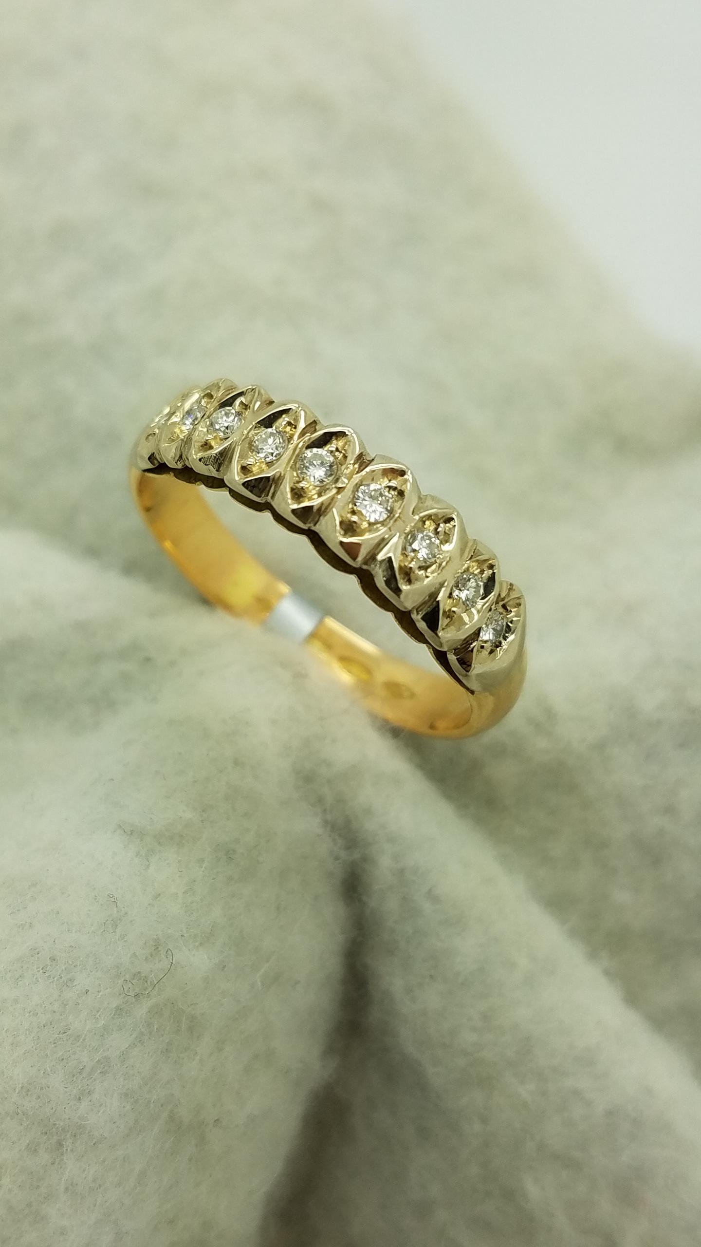 18KYellow GoldHand Made0.20ctRoundCutDiamondAnniversary Bandwedding-ring