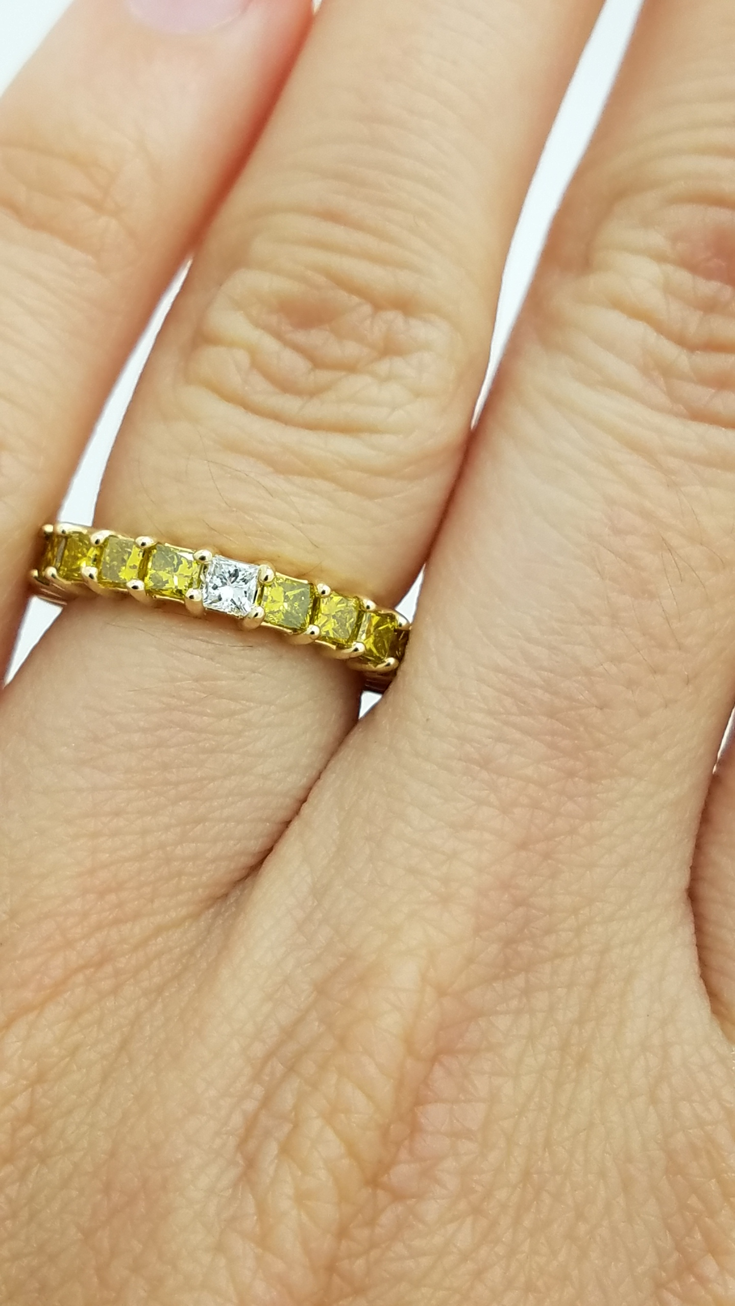 14K	Yellow Gold		2.25	ct	Princess	Cut	White +Yellow	Diamond	4-prong	Eternity Band	Ring
