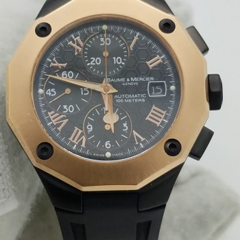 BAUME & MERCIERRIVIERA8712BLACK18k & Stainless SteelSilicone/Rubber43MMMechanical (Automatic)WATCH