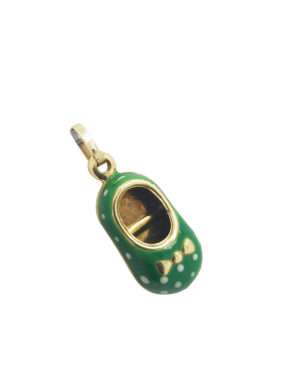 ESTATEENAMEL14KYellow Gold1.2GGREEN BABY SHOEnecklace-pendant