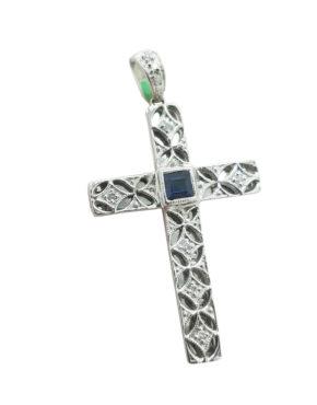 SAPPHIREDIAMOND14KWhite Gold4GMILGRAIN CROSSLocketnecklace-pendant