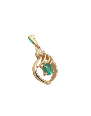 ESTATE	0.11	ct	EMERALD	DIAMOND	14K	Yellow Gold	1	G			necklace-pendant