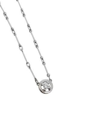 18K  White Gold  SOLITAIRE  0.20 ct  DIAMOND BEZEL necklace-pendant