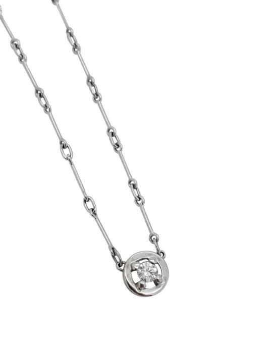 Solitaire diamond necklace 18k white gold brickell jewelers 18k white gold solitaire 020 ct diamond bezel necklace pendant aloadofball Images