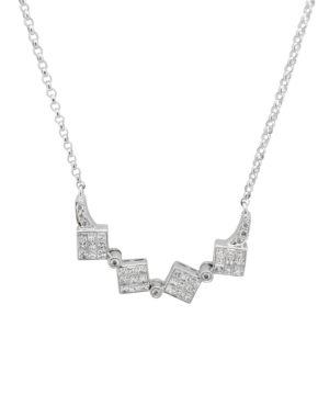 14K White Gold Multistyle 1.00 ct Diamond princess cuts Invisible-Set necklace-pendant