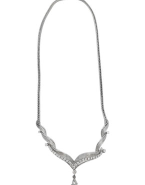 18K	White Gold Bridal Garland 1.50 ct Diamond 4-prong necklace-pendant featuring a dangle marquise cut