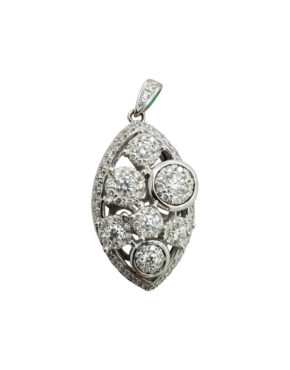 cluster marquise shape pendant with	0.75	ct		DIAMOND		14K	White Gold	4.4	G	round clusters