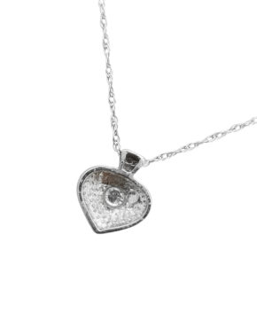MATTE FINISHTINYDIAMOND18KWhite GoldHEARTnecklace-pendant