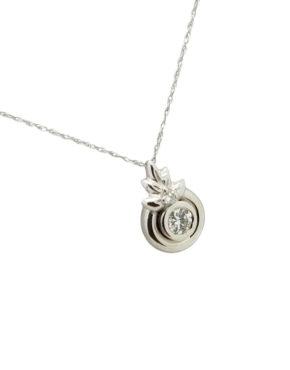 sweet tiny Bezel solitaire diamond 14k white gold 0.25 ct pendant