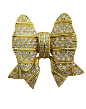 VINTAGE  STYLE FULLY FROSTED PAVE DIAMONDS BOW DESIGN 4.50ct 18K        Yellow Gold        20.2        GR  BROOCH