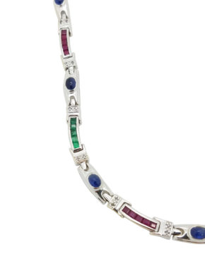18K        White Gold MIX OF PRECIOUS GEMSTONES 0.30 ct SAPPHIRES EMERALDS, RUBIES AND DIAMOND ACCENTS  necklace