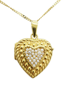 Vintage   Pearl        18K        Yellow Gold        7.1        G        Heart        Locket  necklace-pendant