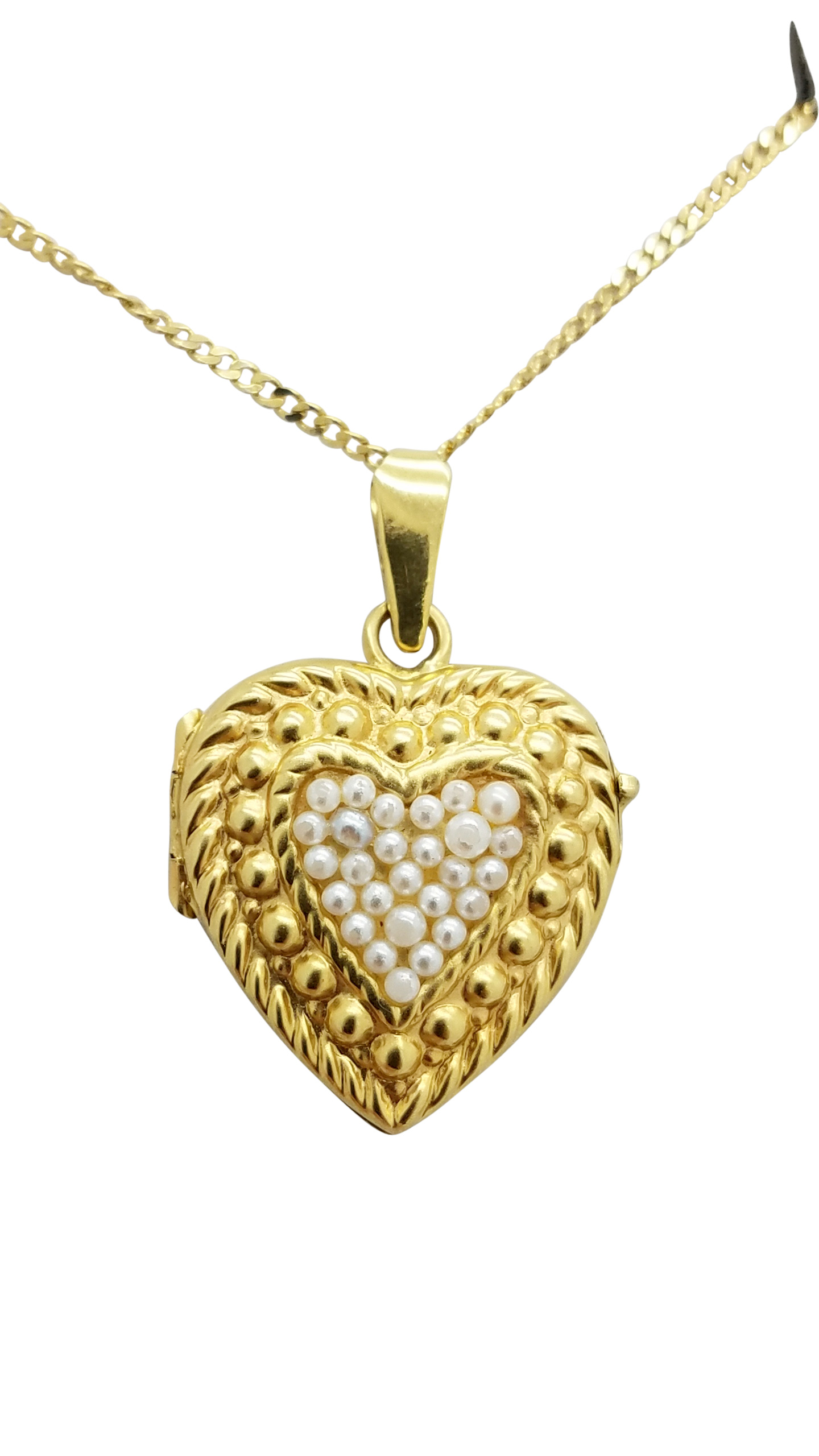 Vintage pearl 18k yellow gold 71 g heart locket necklace pendant aloadofball Image collections