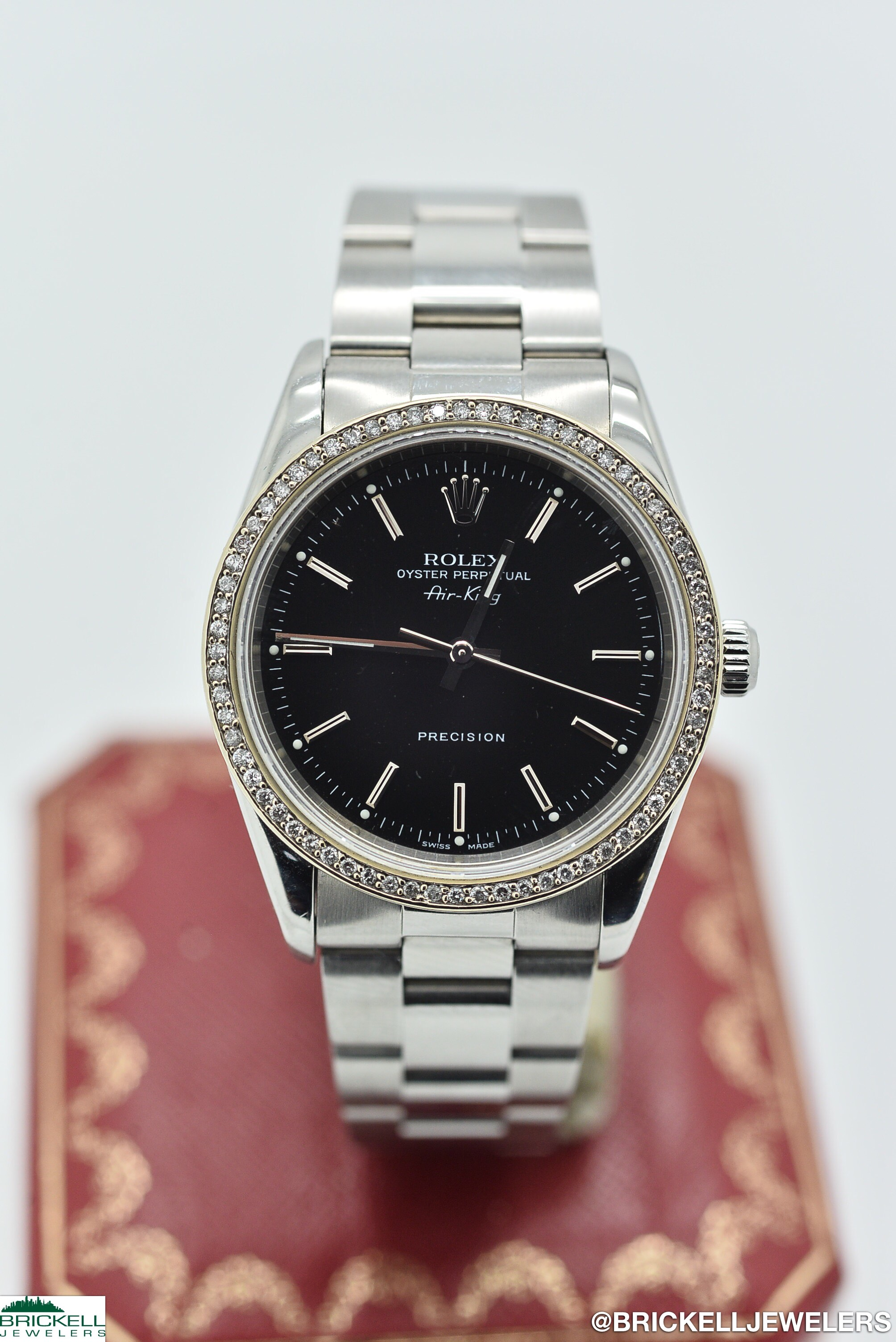 ROLEX	AIR-KING	14000M	BLACK 		DIAMOND			Stainless Steel		34MM	Mechanical (Automatic)	WATCH