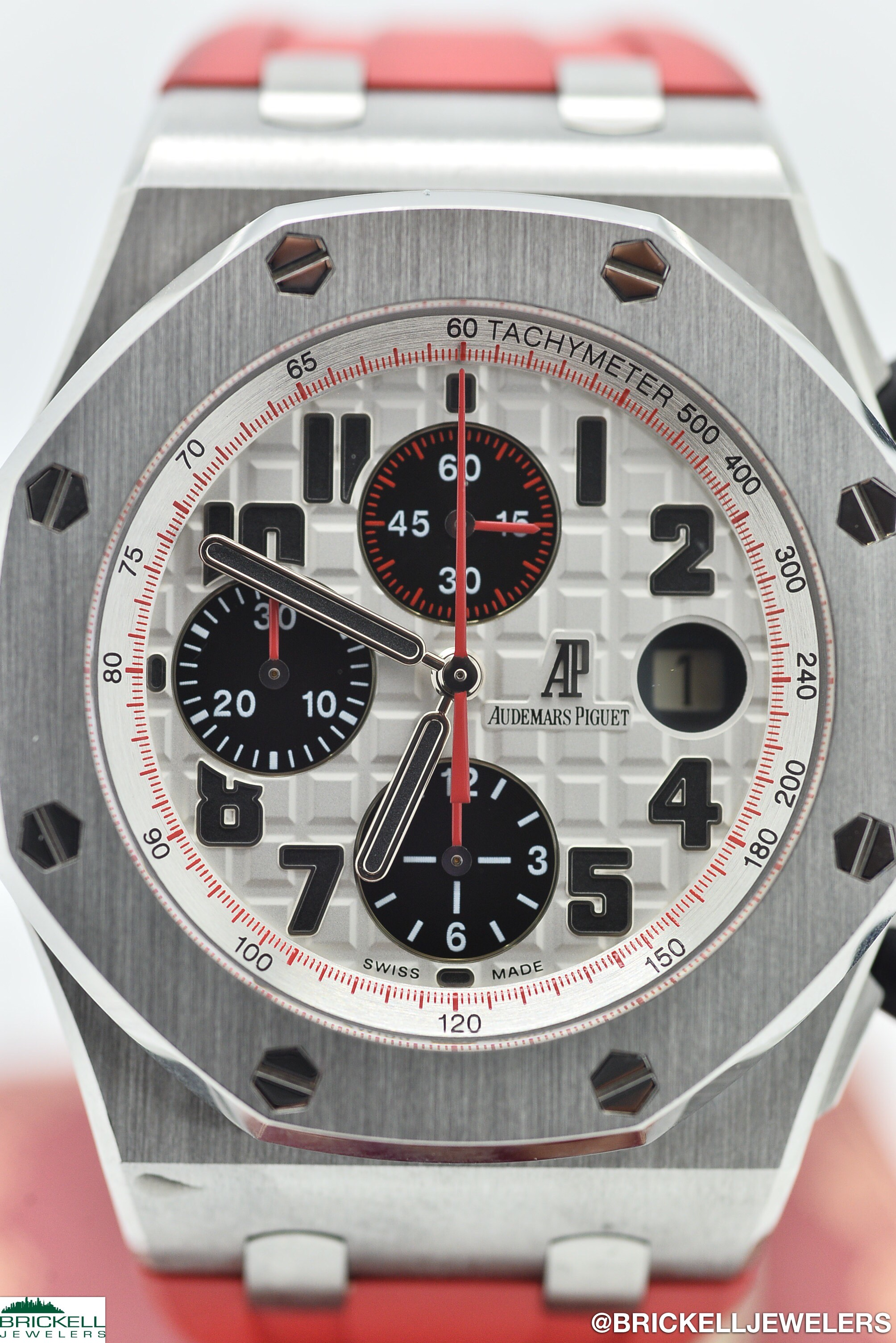 "AUDEMARS PIGUET	ROYAL OAK OFFSHORE ""PANDA""		WHITE				RED	Stainless Steel	Silicone/Rubber	42MM	Mechanical (Automatic)	WATCH"
