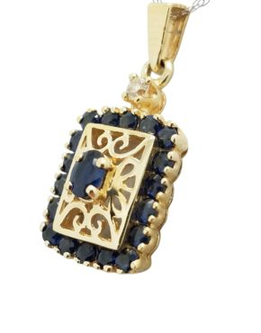ESTATE 0.04 ct SAPPHIRE 14K Yellow Gold 2.4 G necklace-pendant