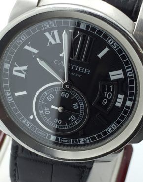 Mens Cartier Calibre 3299 Black Dial Automatic Watch