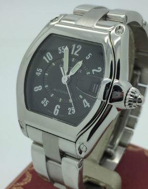MENS CARTIER ROADSTER STAINLESS STEEL BLACK DIAL 2510 AUTOMATIC