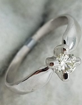14K        White Gold        Classic        0.35        ct.        Round        Cut        Diamond                Solitaire                Engagement-Ring