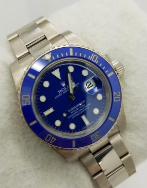 ROLEX SUBMARINER CERAMIC 18K WHITE 116619 Solid Gold BLUE SMURF WATCH