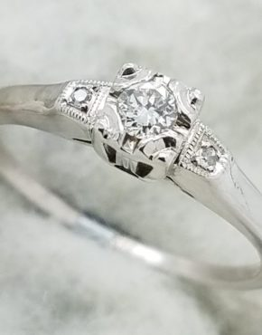 14K        White Gold        Vintage Estate       0.15        ct.        Round        Cut        Diamond        G        VVS2                Solitaire with Accents        Engagement-Ring