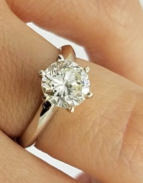 18K	White Gold	Crown style	1.44	ct.	Round		Cut	Diamond	6-prong	Solitaire		Engagement-Ring