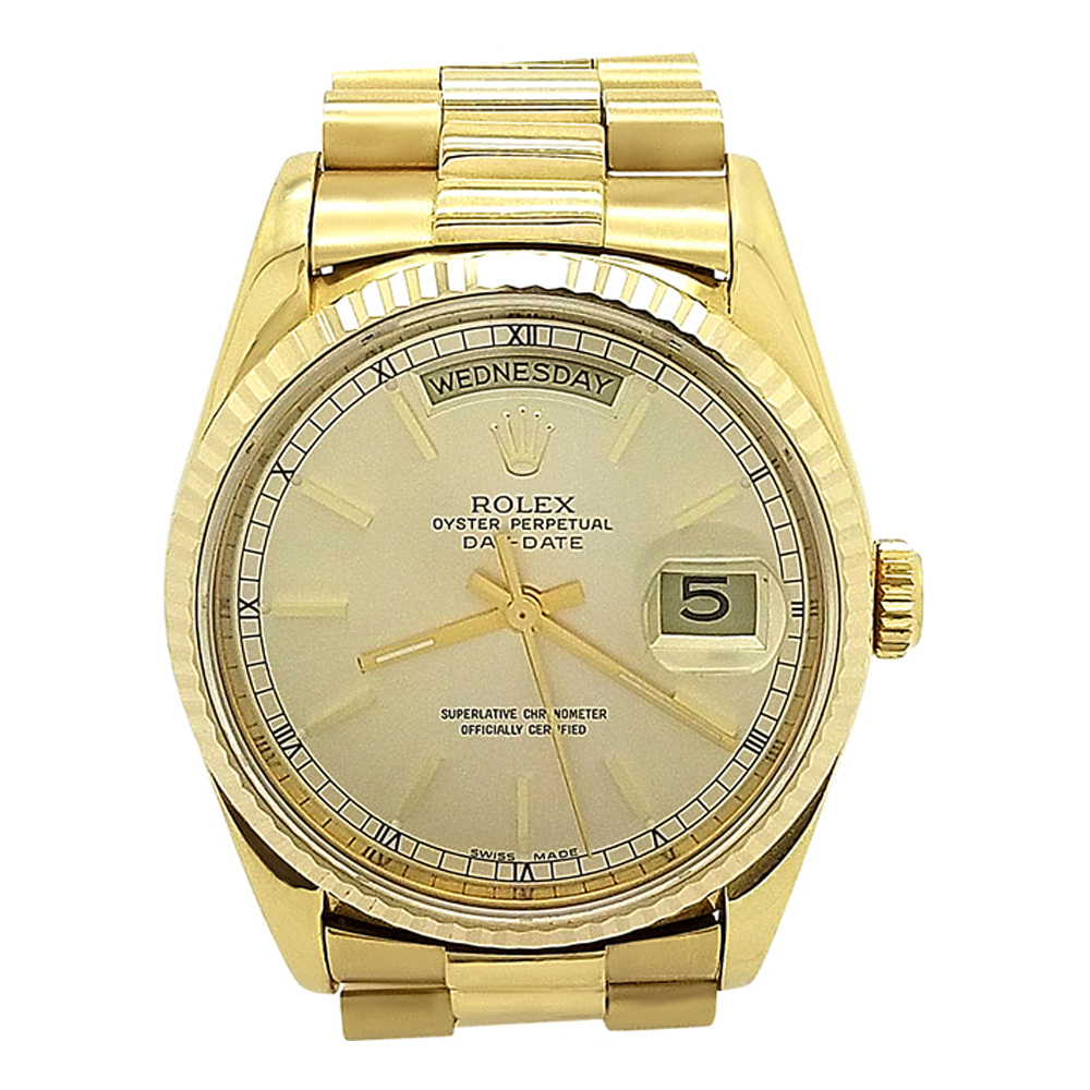 Rolex President Day Date 18k Champagne Yellow Gold 36mm Watch 18238 Pre Owned Watches Rolex