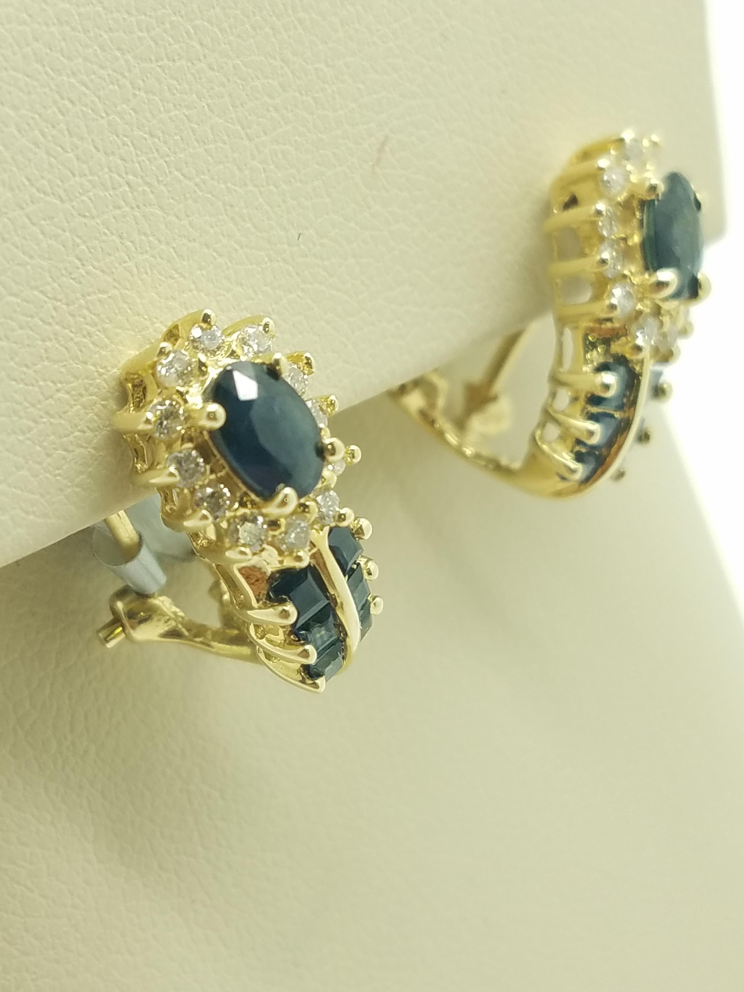 14K Yellow Gold 4 7 g SAPPHIRE DIAMOND Huggie Earrings 0 50 ct