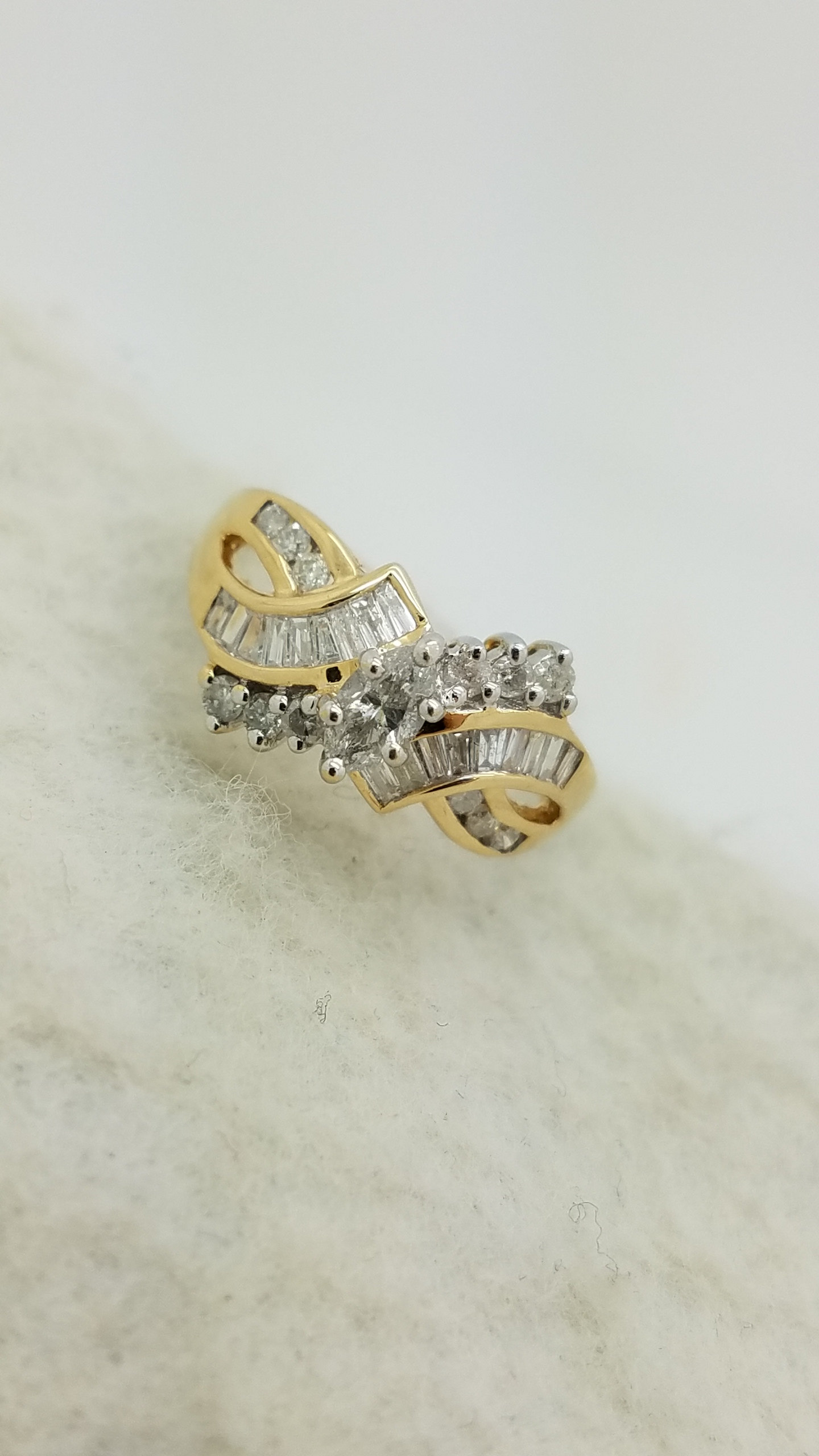 Sapphires and Diamonds Cluster Ring 14k Yellow Gold
