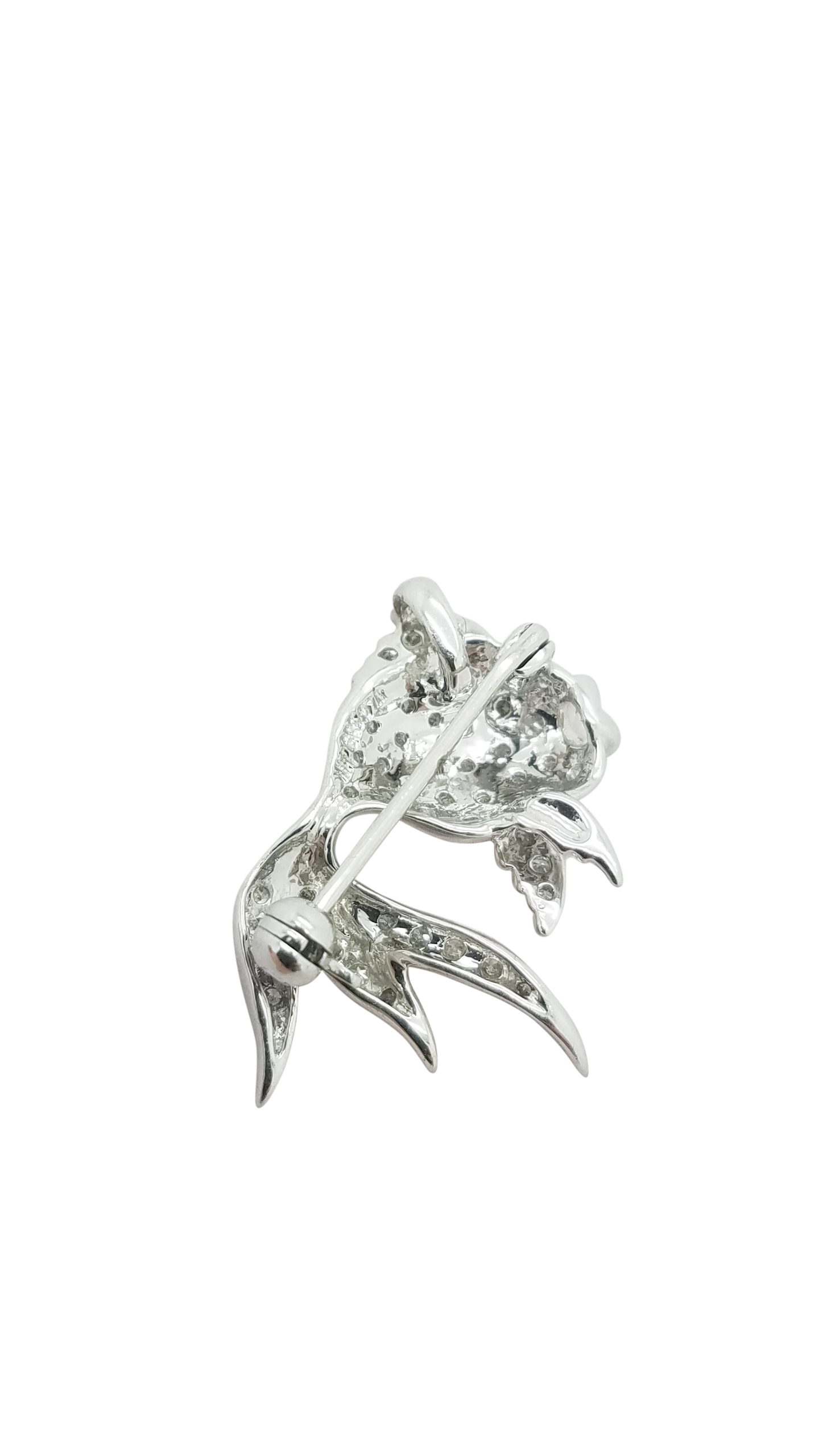 MODERN 0 35 ct DIAMOND 14K White Gold 3 G GOLDFISH PIN BROOCH