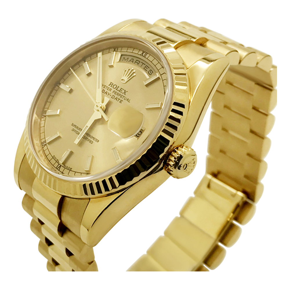 32e96bd52f353 BEZEL-ENGRAVED ROLEX DAY-DATE PRESIDENT 118238 CHAMPAGNE 18K YELLOW ...