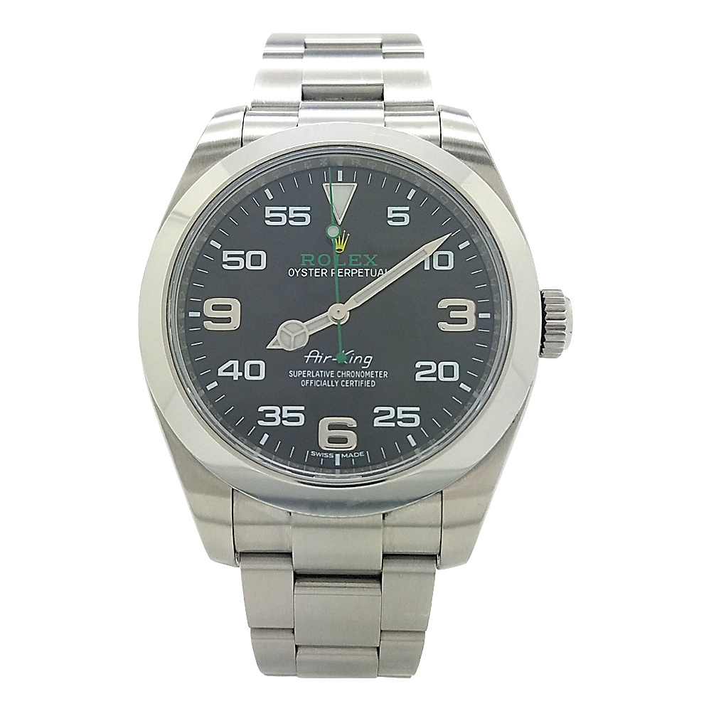 Rolex 116900 Oyster Perpetual Air King Black Arabic Dial Stainless Steel Watch Pre Owned Watches Rolex